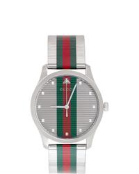 Мужские зелено-красные часы в горизонтальную полоску от Gucci