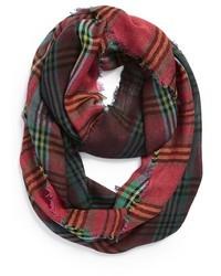 Зелено-красный шарф в шотландскую клетку