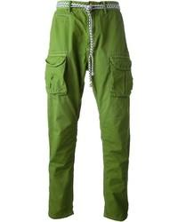 Зеленые брюки карго