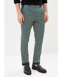 Зеленые брюки чинос с принтом от Krismarin
