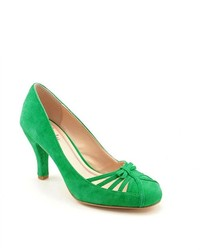 Зеленые замшевые туфли с вырезом