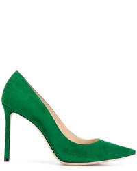 Зеленые замшевые туфли от Jimmy Choo