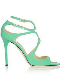 Зеленые кожаные босоножки на каблуке