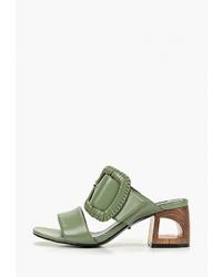 Зеленые кожаные сабо от Vitacci