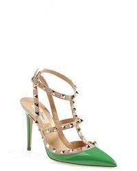 Зеленые кожаные туфли