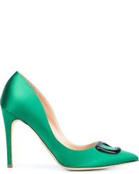 Зеленые сатиновые туфли