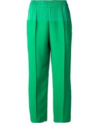 Зеленые широкие брюки
