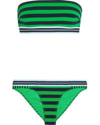 Зеленый бикини-топ в горизонтальную полоску от Stella McCartney