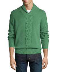 Зеленый вязаный свитер с отложным воротником