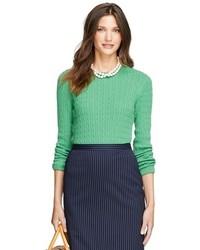Женский зеленый вязаный свитер от Brooks Brothers