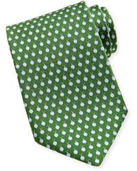 Зеленый галстук в горошек