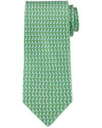 Зеленый галстук с принтом