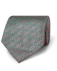 Мужской зеленый галстук с принтом от Charvet