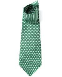 Мужской зеленый галстук с принтом от Salvatore Ferragamo
