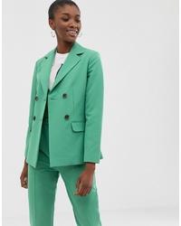 Женский зеленый двубортный пиджак от ASOS DESIGN