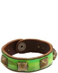 Зеленый кожаный браслет