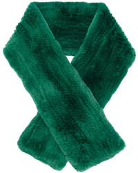 Женский зеленый меховой шарф от Yves Salomon