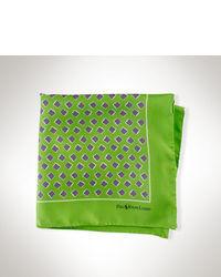 Зеленый нагрудный платок с принтом