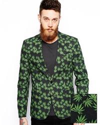 Зеленый пиджак с принтом
