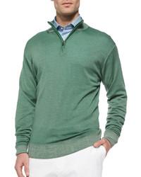 Зеленый свитер с воротником на молнии