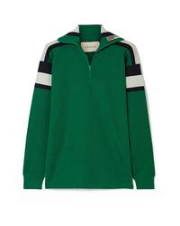 Женский зеленый свитер с воротником на молнии от Gucci