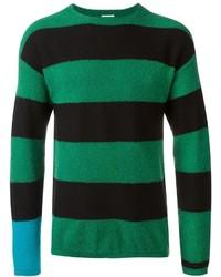 Зеленый свитер с круглым вырезом в горизонтальную полоску