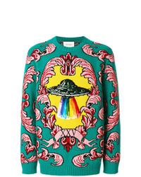 Мужской зеленый свитер с круглым вырезом с вышивкой от Gucci