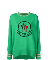 Зеленый свитер с круглым вырезом с принтом