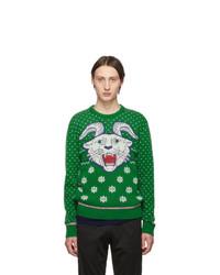Мужской зеленый свитер с круглым вырезом с принтом от Gucci