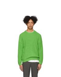 Мужской зеленый свитер с круглым вырезом от Issey Miyake Men