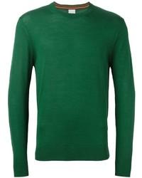 Мужской зеленый свитер с круглым вырезом от Paul Smith