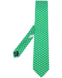 Мужской зеленый шелковый галстук от Salvatore Ferragamo