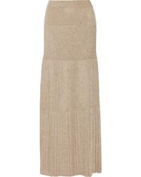 Золотая длинная юбка со складками