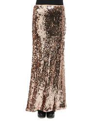 Золотая длинная юбка с пайетками