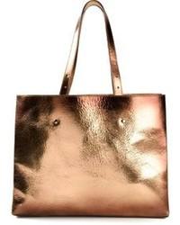 Золотая кожаная большая сумка