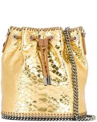 Золотая кожаная сумка-мешок