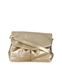 Золотая кожаная сумка-саквояж