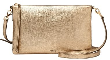 4a6a125d68a5 Золотая кожаная сумка через плечо от Fossil | Где купить и с чем носить