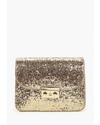 Золотая кожаная сумка через плечо от Marissimo