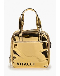 Золотая кожаная сумка через плечо от Vitacci
