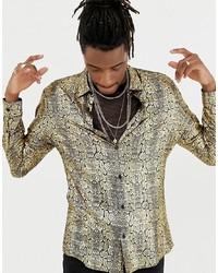 Золотая рубашка с длинным рукавом с принтом