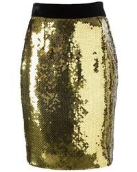 Золотая юбка-карандаш с пайетками