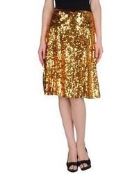 Золотая юбка-миди со складками