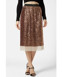 Золотая юбка-миди с пайетками