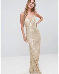 Женское золотое вечернее платье с пайетками от TFNC