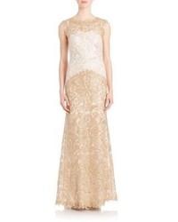 Женское золотое кружевное вечернее платье от Tadashi Shoji