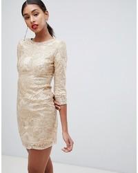 Золотое облегающее платье с пайетками с вышивкой от TFNC