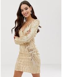 Золотое облегающее платье с пайетками от AX Paris