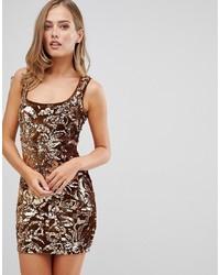Золотое облегающее платье с пайетками от Flounce London