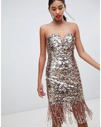 Золотое облегающее платье с пайетками от TFNC